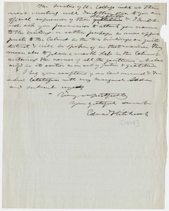 Edward Hitchcock letter to Abbot Lawrence, 1848