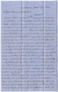 Benjamin Silliman letter to Edward Hitchcock, 1852 October 27