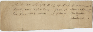 Edward Hitchcock receipt of payment to the town of Amherst, 1838