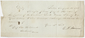 Charles Baker Adams notice of payment to Edward Hitchcock, 1838 August 15