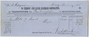 A. D. Hayar? receipt of payment to the Vermont and Canada Railroad Corporation, 1858 August 11