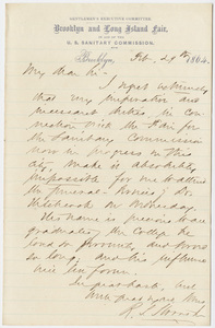 Richard Salter Storrs, Jr. letter to William Augustus Stearns?, 1864 February 29