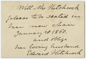 Edward Hitchcock note to Orra White Hitchcock, 1860 January 1