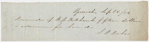 Edward Hitchcock receipt of payment to S. P. Oakes, 1854 September 18