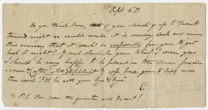 Edward Hitchcock note to Orra White, 1819? or 1820? September 6