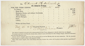 Edward Hitchcock receipt of payment to Amherst College, 1847 February 11