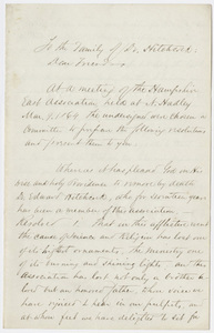 Hampshire East Association resolutions proposed upon the death of Edward Hitchcock