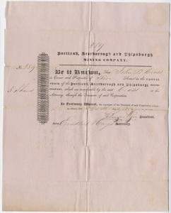 John B. Cross stock certificate of the Portland, Scarborough and Phipsburgh Mining Company