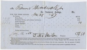 Edward Hitchcock receipt of payment to Amherst College, 1848 January 14