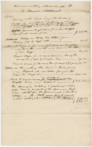 Edward Hitchcock geological survey expense account, 1833 January 15 to 1833 October 1