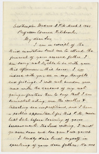 Aaron Merrick Colton letter to Edward Hitchcock, Jr., 1864 March 2