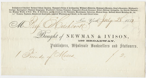 Edward Hitchcock receipt of payment to Newman & Ivison, 1852 July 28