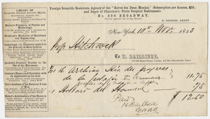 Edward Hitchcock receipt of payment to Hippolyte Bailliere, 1853 November 11
