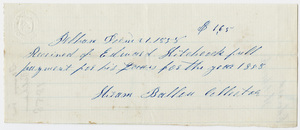 Edward Hitchcock receipt of payment to the town of Pelham, 1858