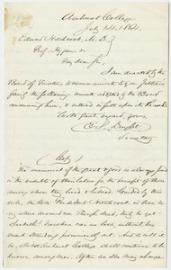 Amherst College Board of Trustees minutes regarding Edward Hitchcock