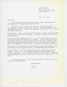 Letter from Jinie Lind to Judi Chamberlin