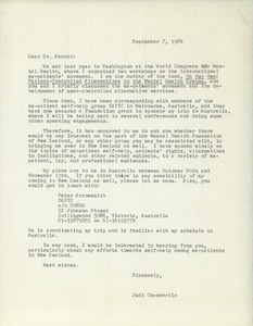 Letter from Judi Chamberlin to Max W. Abbott