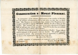Consecration at Mount Pleasant