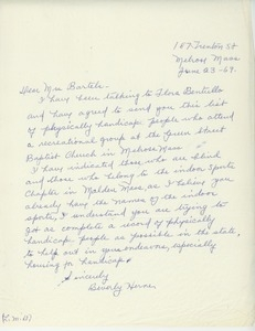 Letter from Beverly Herne to Mary T. Bartels