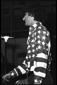 Abbie Hoffman in his American flag shirt, yo yo in hand
