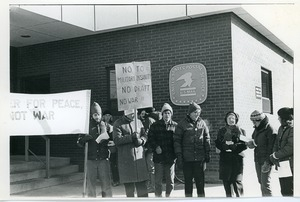 Anti-draft registration protest outside the post office building, Northampton