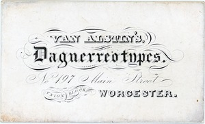 Business card for daguerreian Andrew Wemple Van Alstin