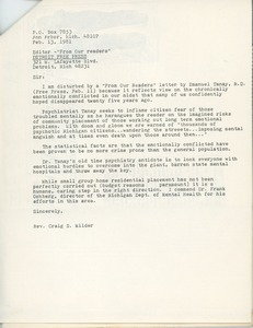 Letter from Craig S. Wilder to the editor of the Detroit free press