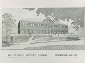 Architect Sketch of proposed Allied Health Sciences Center, 1987