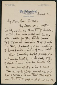 Letter, approximately 1880-1900, William H. Ward to James Jeffrey Roche