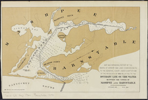 Map accompanying report of the Board of Harbor and Land Commissioners to the General Court: under Chapter 105 of the Resolves of 1893 relating to the boundary line on tidewater between the towns of Mashpee and Barnstable