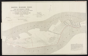 Boston Harbor, Mass. Map of Charles River: From Brookline Street Bridge to Charles River Bridge