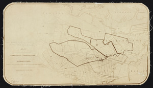Map of a portion of the cities of Cambridge, Somerville and Charlestown, showing the drainage area of Millers River and Basins