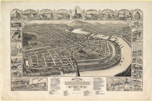Bird's eye view of the city of Holyoke: and village of South Hadley Falls, Mass., looking north