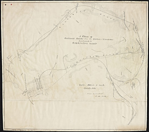 A plan of railroad routes from the Boston and Worcester railroad to Hopkinton, Massachusetts / G.H. Nott.
