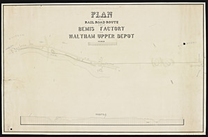 Plan of a railroad route from Bemis Factory to Waltham Upper Depot.