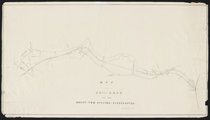 Map and profile of railroad line from Mount Tom station to Easthampton.