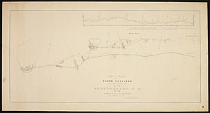 Plan and profile of a route proposed for the extension of the Newburyport R.R. to the Essex R.R. at N. Andover / Felton & Parker.