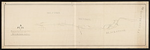 A plan and profile of the route for the proposed railroad from Milford to Woonsocket Falls / by David Davenport, civil engineer.