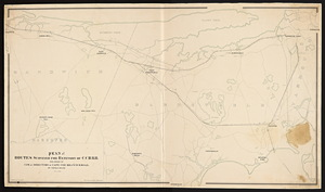 Plan of routes surveyed for extension of C.C.B.R.R. : per order of com. of director of Cape Cod Branch R. Road / by Thomas Doane.