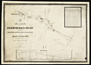A map and profile of a branch railroad from the Boston and Providence railroad to Dedham Village / Joshua Barney ; under the direction of William Gibbs McNeill.