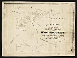 Plan and profile for a proposed railroad from Woonsocket to the