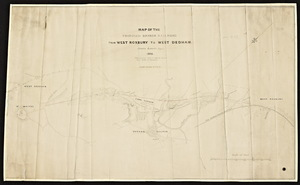 Map of the proposed branch railroad from West Roxbury to West Dedham from surveys made in 1847 for railroad from Boston to Blackstone / James Laurie, engineer.