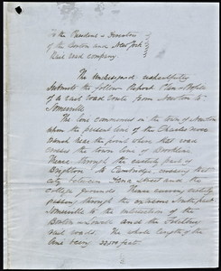 Letter to the president and directors of the Boston and New York railroad company