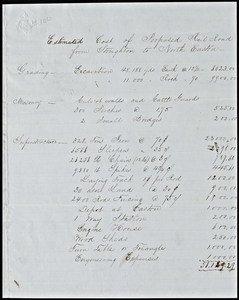 Estimate of cost of railroad from North Easton to Stoughton