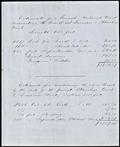 Estimate accompanying pland and profile for Lowell and Lawrence railroad, 1851