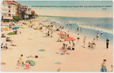 Bathing beach and hotels looking east from pier, Old Orchard Beach, Maine