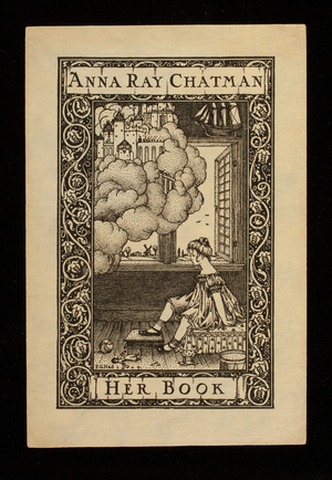 Bookplate for Anna Ray Chatman, her book, engraved by F.G. Hall