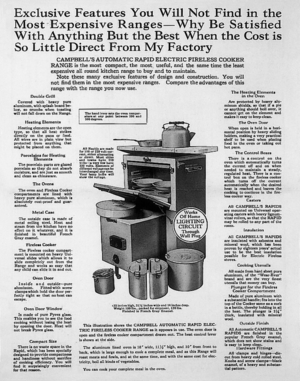Advertisement for Campbell's Automatic Rapid Electric Fireless Cooker Range, William Campbell Co., Alliance, Ohio