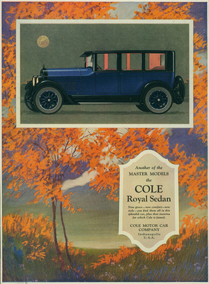 Advertisement, another of the master models, the Cole Royal Sedan, Cole Motor Car Company, Indianapolis, Indiana