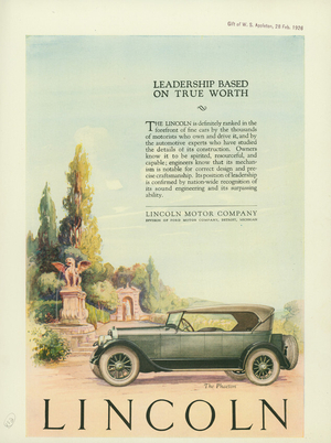 Advertisement, leadership based on true worth, Lincoln, Lincoln Motor Company, a division of Ford Motor Company, Detroit, Michigan